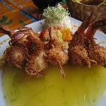 coconut battered shrimp with mango sauce
