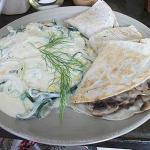 Fabulous rajas on crema with mushroom onion quesadillas!