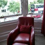 Designer chair in the bay window