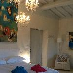 Our beautiful room..soaring ceilings, artwork and amazing lighting