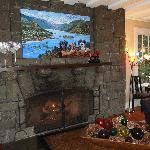 Living room fireplace (with the B&B pups' portrait above the mantle)