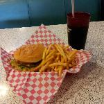 My yummy burger and fries and diet cola