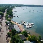 Aerial view of town and Lake Superior during the 4th of July