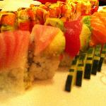 May Island Hako sushi and King Crab Rainbow roll