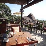Breakfast area overlooking the sea
