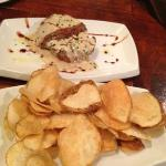 beef with anchovy cream sauce and fresh cut potato chips
