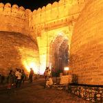 The main entrance of the fort - brilliantly lit up in night