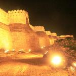 The gignatic fort boundary wall - lit up in night after light-sound show