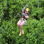 my 10 year old daughter on the zip wire