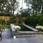 De tuin met grote vijver