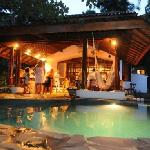 Pool and Breakfast area at night time.