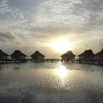 nightfall at the far side of the island - pool and water bungalows