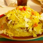 Taco salad comes in a deep fried shell.