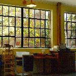 Lots of windows brighten the interior.