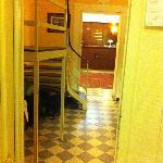 view from room door to reception