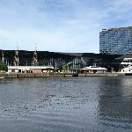 Looking at Hilton South Wharf from other side of the Yarra