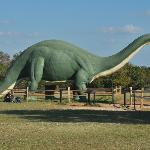 "This full-scale ""brontosaurus"" statue originally appeared at the 1964 World's Fair."