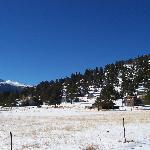 Longs Peak from Valhalla resort cabins