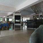 View from lobby to dining room and the lobby bar