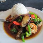 Eggplant Shrimp with Steamed Rice