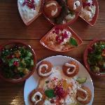 Tray of mezes from the starter menu.