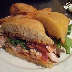 Another view of my absolutely delicious smoked chicken club sandwich