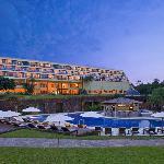 Pool & hotel facade