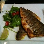 Grilled seabass - very fresh and cooked to perfection with lovely crispy skin and moist flesh