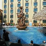 Fountain and heated swim up bar
