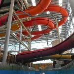 going under the slides in the torrent river