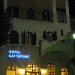 Hotel entrance at night