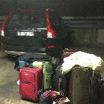 Parking garage and our luggage
