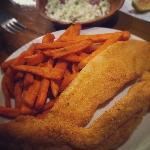 catfish, 'slaw, and sweet potato fries