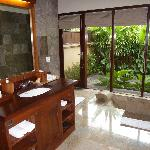 bathroom and private garden outside