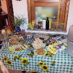 colazione a base di prodotti della casa e del posto
