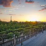 Eiffel tower in distance early evening September