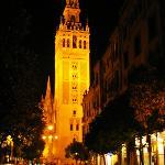 Catedral de Sevilla at night from Calle Mateos Gago (El Barrio de santa Cruz)
