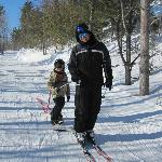 Son and Grandson Cross-country skiing
