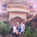 Us in front of the hostel with the owner and his son !