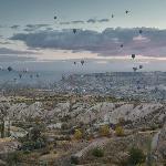 Ballons over Cappadocia from the terrace