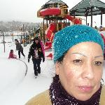 mama tried of getting attack by snow balls