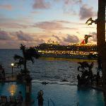 Cruise ship leaving at night