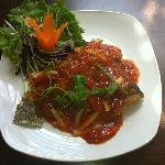 Deep Fried Whole Sea Bass with Spicy Thai Sweet Chilli Sauce