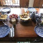 breakfast spread on communal table