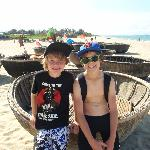 My boys with the local fishing basket boats