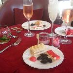 Mostly sweets, with a salmon sandwich, sparkling rose
