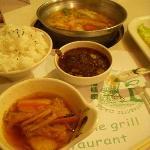 Shabu-shabu rice, and sauce accompaniment