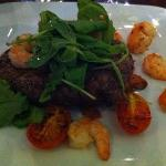 angus beef with prawns