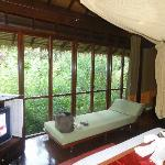 inside the bedroom - whole room is glass windows open to the jungle grounds