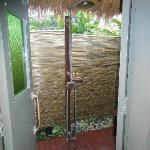 outdoor shower. The peppermint shower gel in the outdoor shower - it doesnt get better than th